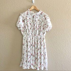The Moon White Bird Print Whimsical Dress